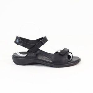 Ecco Black Leather Sandal Women Comfort Shoe
